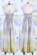 Schönes A-Linie Bodenlanges Trägerloses Abendkleider aus Chiffon