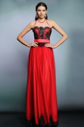 Sexy rotes A-Linie Bodenlanges Ärmelloses Abendkleider aus Tüll Persun
