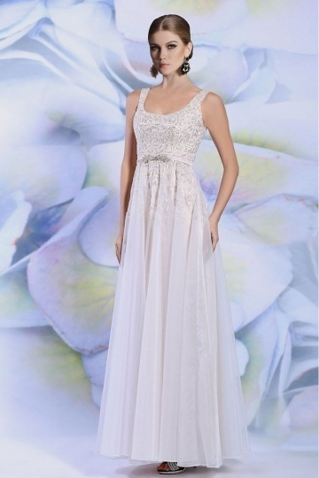 Dressesmall Elegant Square A Line Floor Length Ivory Formal Dress