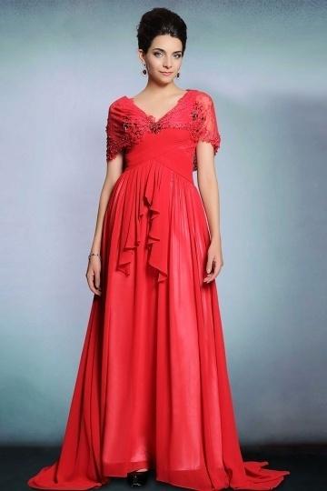 Dressesmall Modern V Neck Chiffon A Line Long Red Evening Dress