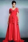 Elegantes V-Ausschnitt rotes A-Linie langes Chiffon Abendkleider