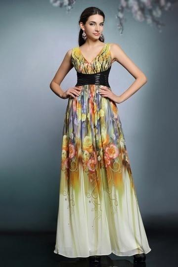 Dressesmall Modern Color Block Print Pattern Chiffon Long Evening Gown