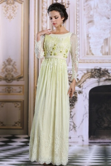 Dressesmall Modern Bateau A line Long Sleeve Green Lace Evening Dress
