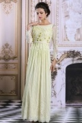 Modern Bateau A line Long Sleeve Green Lace Evening Dress