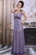 Robe de soirée violette en dentelle encolure unique