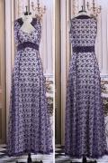 Elegantes lila A-Linie Bodenlanges Spitze Abendkleider