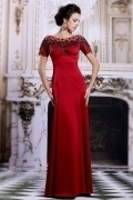 Boot-Ausschnitt rotes Bodenlanges Abendkleid aus Satin