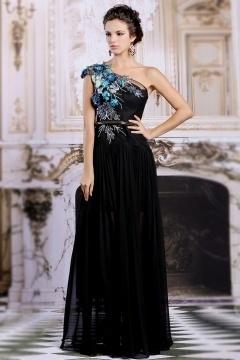 Robe soirée noire asymétrique appliqués avec jupe semi transaprente