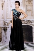 Cap sleeves A Line One Shoulder Black Chiffon Evening Dress With Sequins