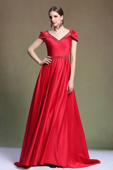 Dressesmall Elegant V Neck Sweep Train Satin Red Evening Dress