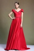 Elegant V Neck Sweep Train Satin Red Evening Dress