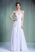 Sexy weißes A-Linie Herz-Ausschnitt Chiffon Abendkleider