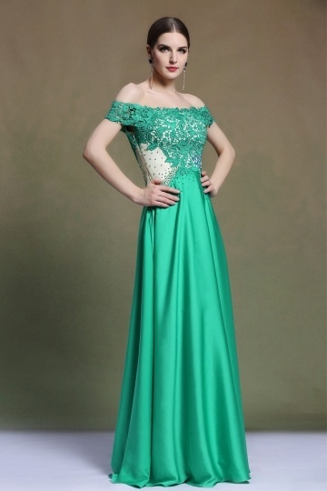 Dressesmall Modern A Line Off the Shoulder Satin Green Evening Dress