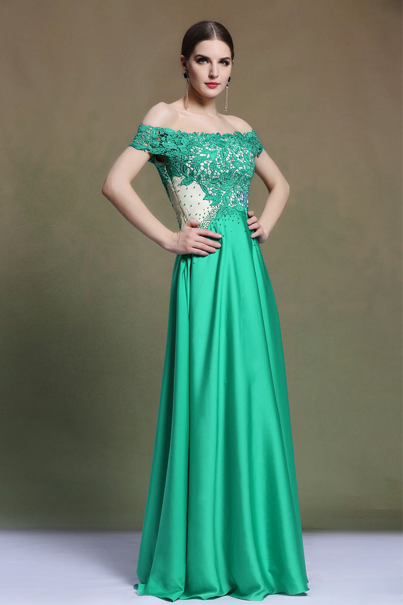 Off-Schulter A-Linie Perle Spitze gefalten grün lang Abendkleid