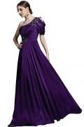Elégante robe de soirée violette ruchée asymétrique appliqués