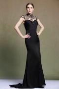 Sexy robe de soirée noire longue sirène encolure illusion à traîne courte