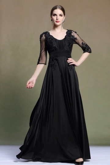 Dressesmall Elegant Scoop Half Sleeves Satin Black Evening Dress
