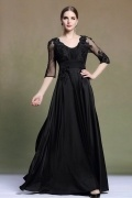 Elegant Scoop Half Sleeves Black Satin Evening Dress