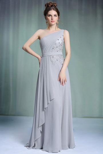 Dressesmall Chic Chiffon One Shoulder Ruching Long Gray School Formal Dress
