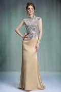 Gorgeous Satin High Neck Sweep Train Champagne Evening Dress