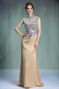 Moderne robe de soirée champagne à haut brillant