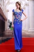 Robe de soirée exotique bleu royal brocart à mancherons