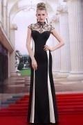 Robe de soirée bicolore noire & blanche à col & dos illusion