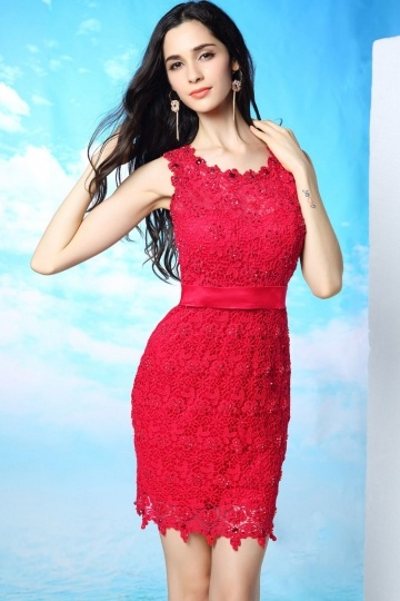 Dressesmall Classic Red Above Knee Lace Beading Sleeveless Open Back Mini Formal Dress