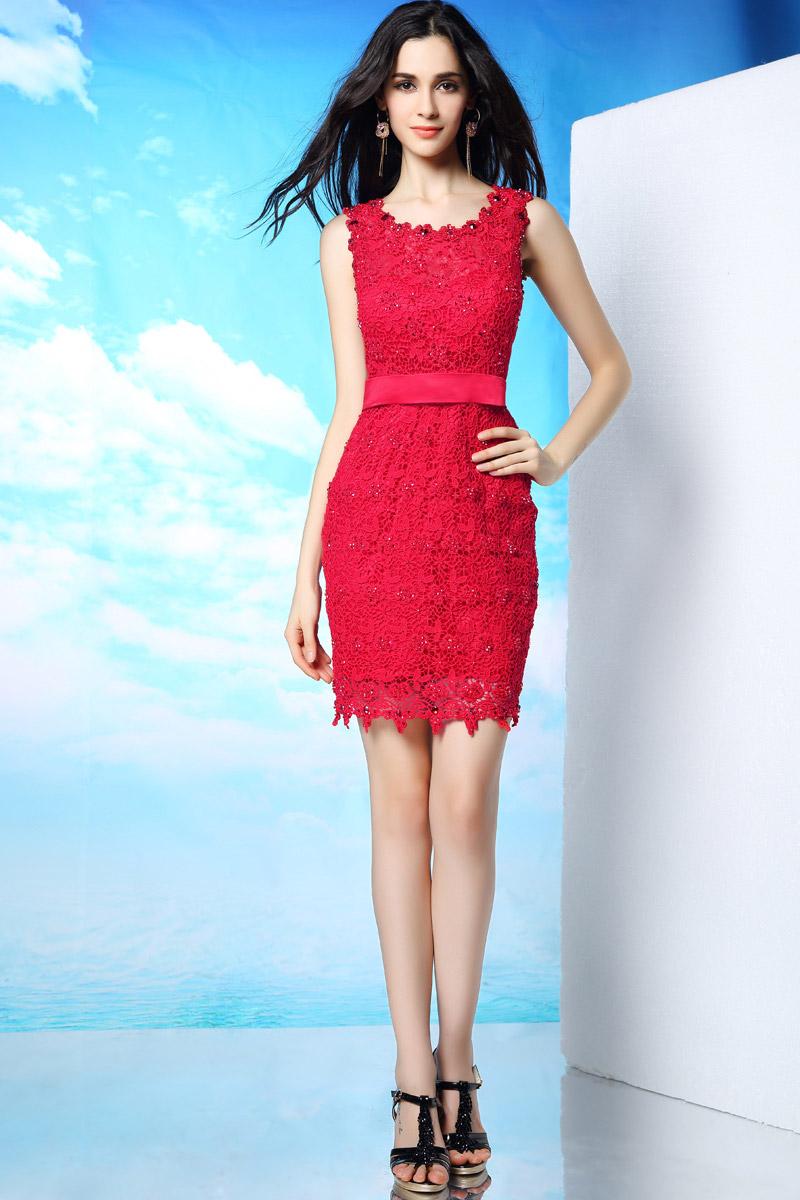 robe cocktail de mariage courte en dentelle rouge. Black Bedroom Furniture Sets. Home Design Ideas