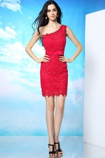 Dressesmall Modern One Shoulder Sheath Beading Short Mini Red Lace Formal Dress