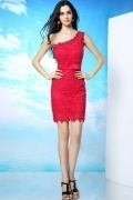 Modern One Shoulder Sheath Beading Short Mini Red Lace Formal Dress