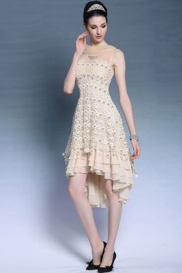 Dressesmall Ivory High Low Beading Appliques Sleeveless Lace Formal Dress