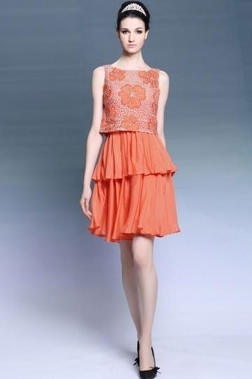 Dressesmall Modern Two pieces Ruffles Beading Short Semi Formal Dress