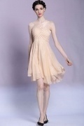 Elegant One Shoulder Beadings Chiffon Short Formal Dress
