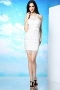 White Lace Tassel Sleeveless Zipper Short Mini Formal Dress