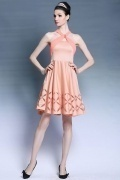 Elegant Halter Sleeveless Beading A line Orange Formal Dress