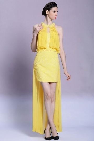 Dressesmall Chic Yellow Chiffon Beading Mini Off the Shoulder Formal Dress