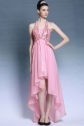 Chic Sequins Halter Asymmetric Pink Short Formal Dress
