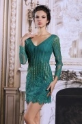 Sexy Sheath V neck Green Lace Evening Dress with Long Sleeves