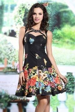 Sexy robe noire imprimé courte en satin