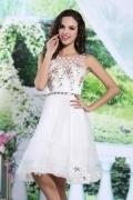 Schönes Knielanges weißes A-Linie Abendkleider aus Organza