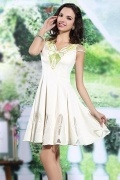 A Line V Neck Ivory Satin Short Wedding Party Dress with Cap Sleeves