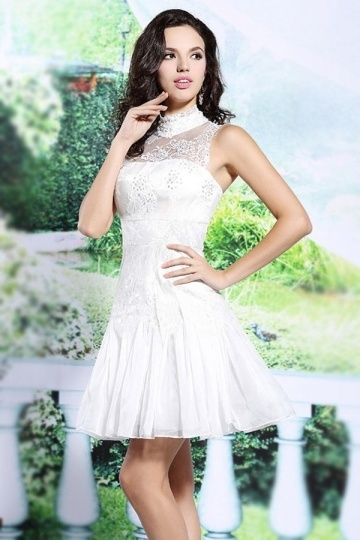 Short High Neck Lace Empire Wedding Party Dress