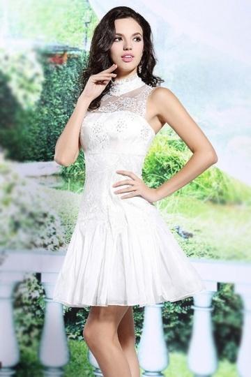 2016 weißes Kurzes A-Linie Stehkragen Abendkleider Persun