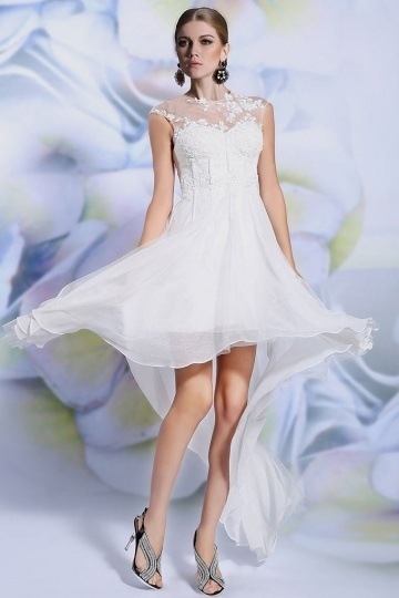 Modern Ivory Chiffon Jewel Embroidery Wedding Dress with Cap Sleeves