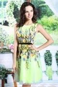 Chic Kurzes A-Linie Rund-Ausschnitt Abendkleid aus Organza