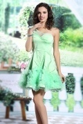 Green Satin A line One Shoulder Short Flowers Evening Dress