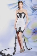 Modern High Low Sweetheart Lace Court Train White Evening Dress