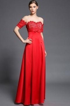 Robe rouge empire haut appliquée dentelle guipure & transpanrent à manche courte