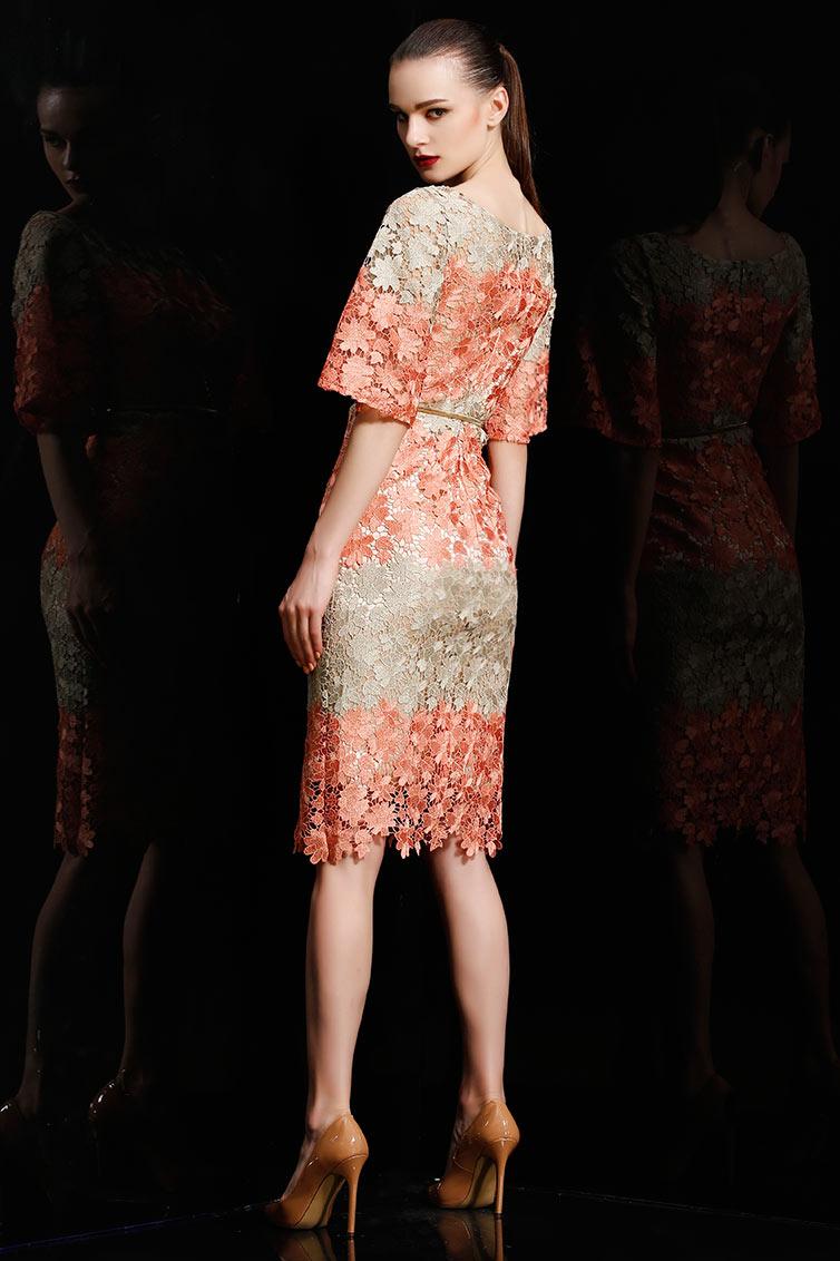 Robe courte bicolore en dentelle florale moulante à manche évasée